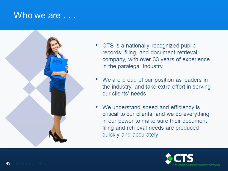 © CTS Inc. - 2013 Who we are...