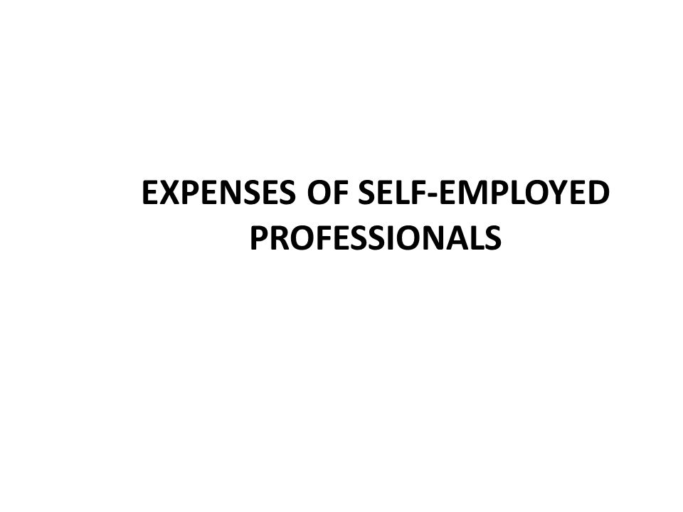 EXPENSES OF SELF-EMPLOYED PROFESSIONALS