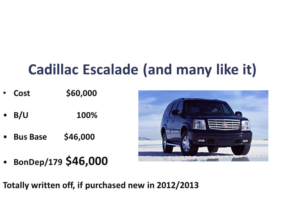 Cadillac Escalade (and many like it) Cost $60,000 B/U 100% Bus Base $46,000 BonDep/179 $46,000 Totally written off, if purchased new in 2012/2013