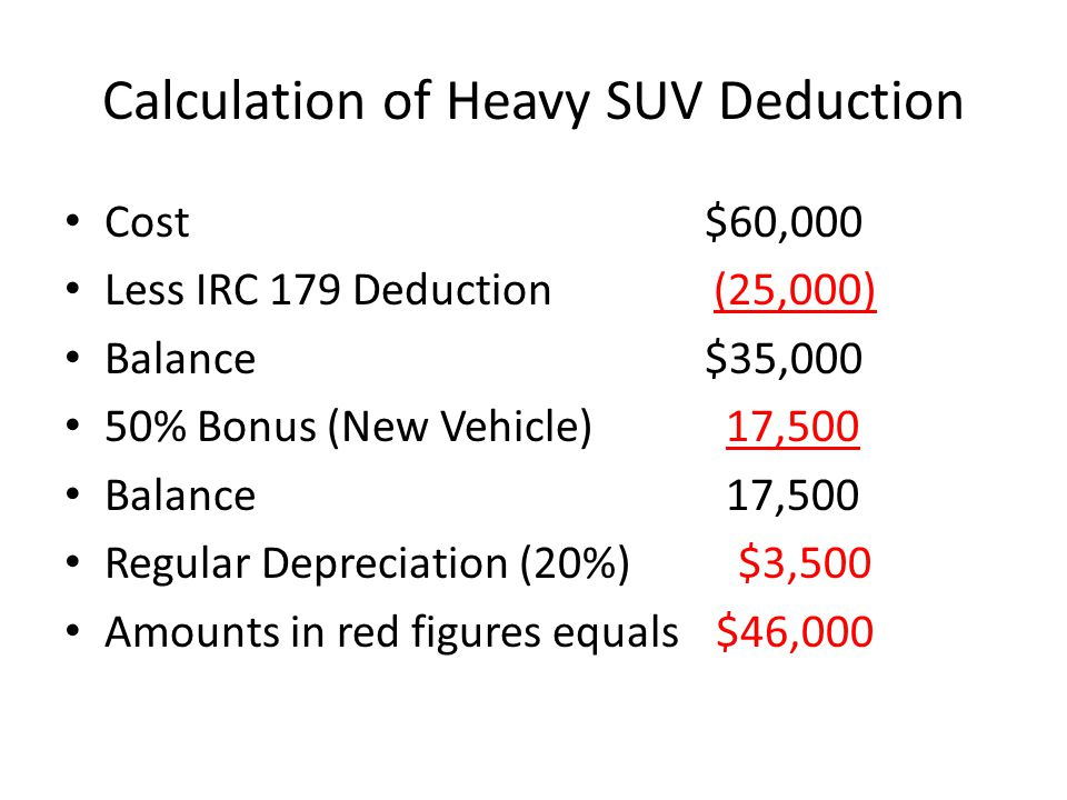 Calculation of Heavy SUV Deduction Cost$60,000 Less IRC 179 Deduction (25,000) Balance$35,000 50% Bonus (New Vehicle) 17,500 Balance 17,500 Regular Depreciation (20%) $3,500 Amounts in red figures equals $46,000