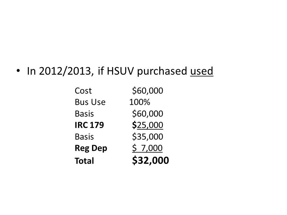 In 2012/2013, if HSUV purchased used Cost$60,000 Bus Use 100% Basis$60,000 IRC 179$25,000 Basis$35,000 Reg Dep $ 7,000 Total $32,000