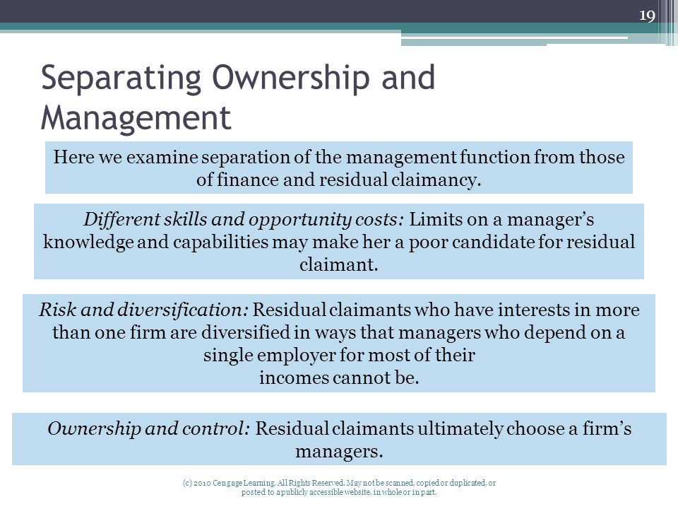 Separating Ownership and Management (c) 2010 Cengage Learning.