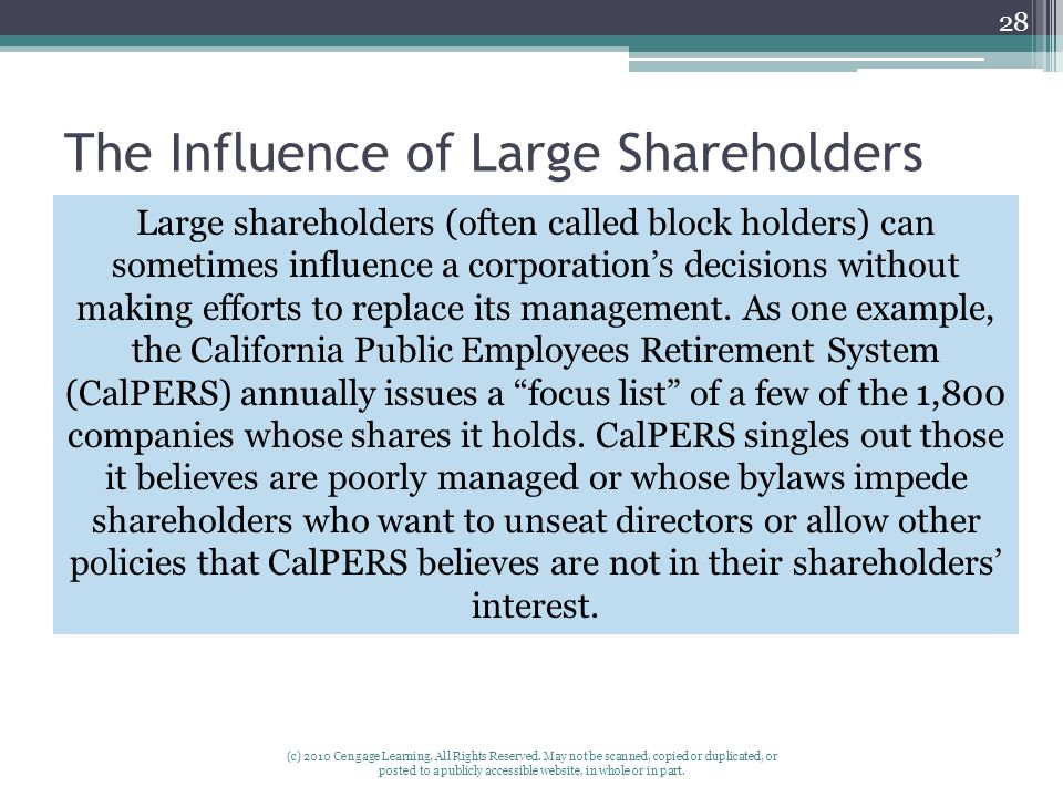 The Influence of Large Shareholders (c) 2010 Cengage Learning.