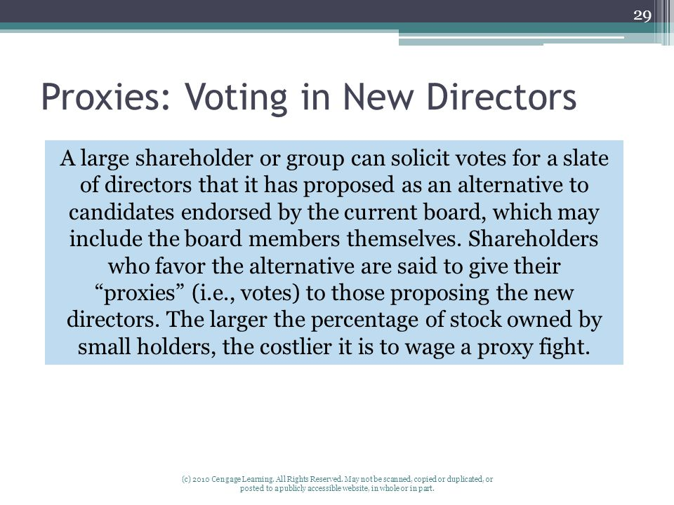 Proxies: Voting in New Directors (c) 2010 Cengage Learning.