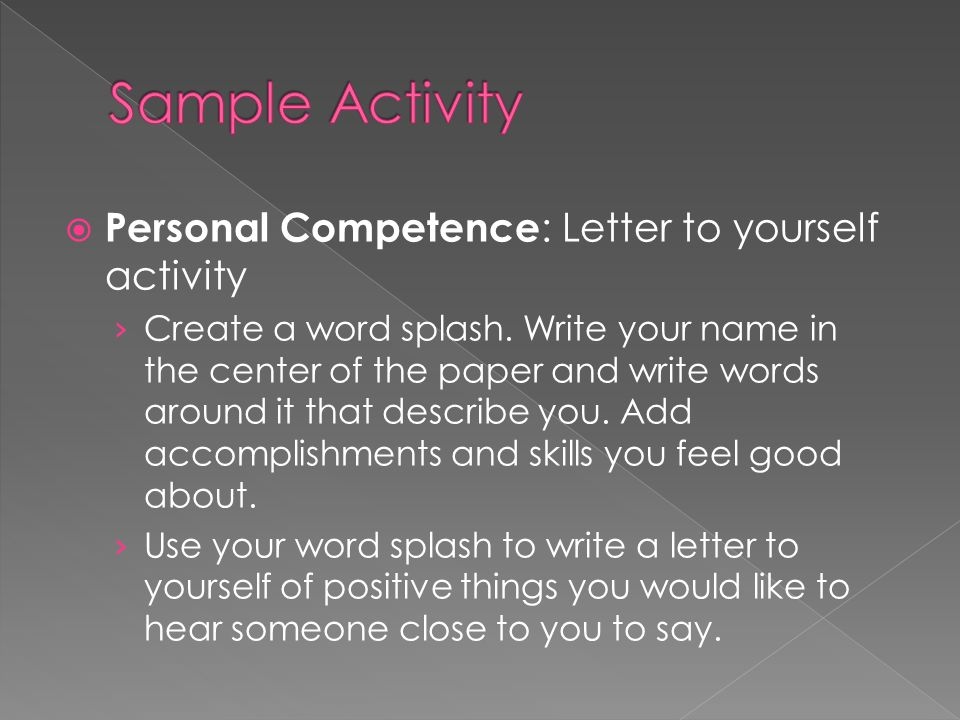  Personal Competence : Letter to yourself activity › Create a word splash.