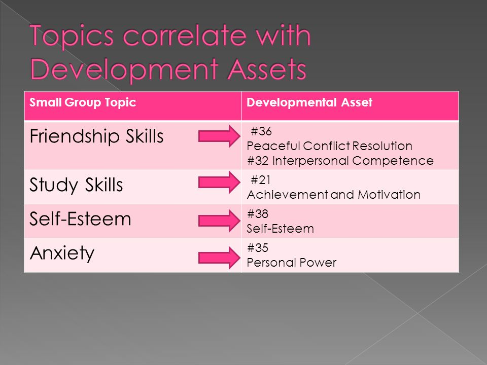 Small Group TopicDevelopmental Asset Friendship Skills #36 Peaceful Conflict Resolution #32 Interpersonal Competence Study Skills #21 Achievement and Motivation Self-Esteem #38 Self-Esteem Anxiety #35 Personal Power  Asset