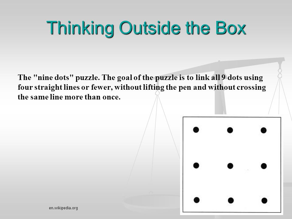 Thinking Outside the Box The nine dots puzzle.