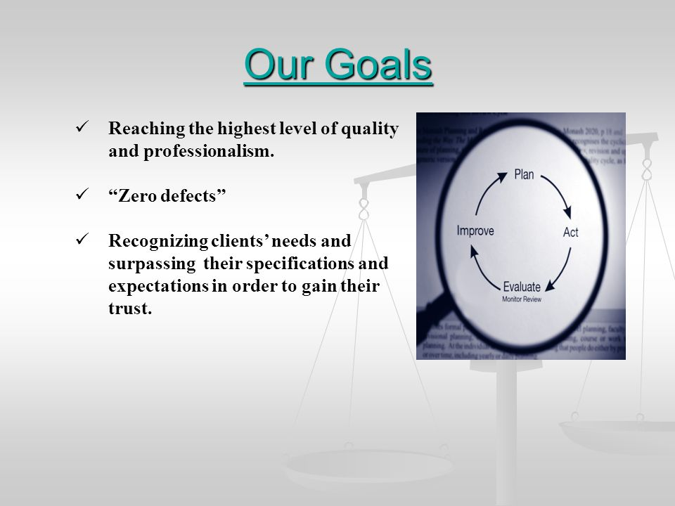 Our Goals Reaching the highest level of quality and professionalism.