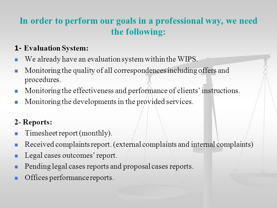 In order to perform our goals in a professional way, we need the following: 1- Evaluation System: We already have an evaluation system within the WIPS
