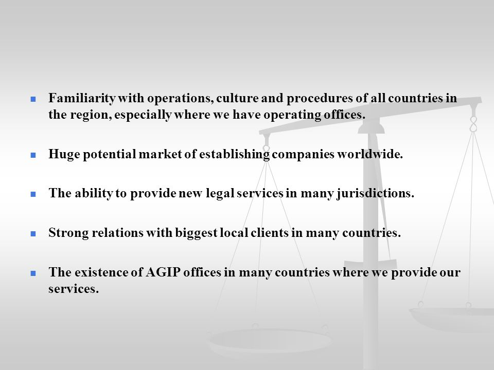 Familiarity with operations, culture and procedures of all countries in the region, especially where we have operating offices. Huge potential market