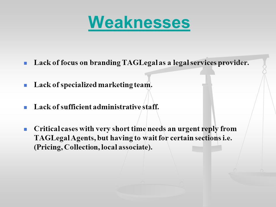 Weaknesses Lack of focus on branding TAGLegal as a legal services provider.