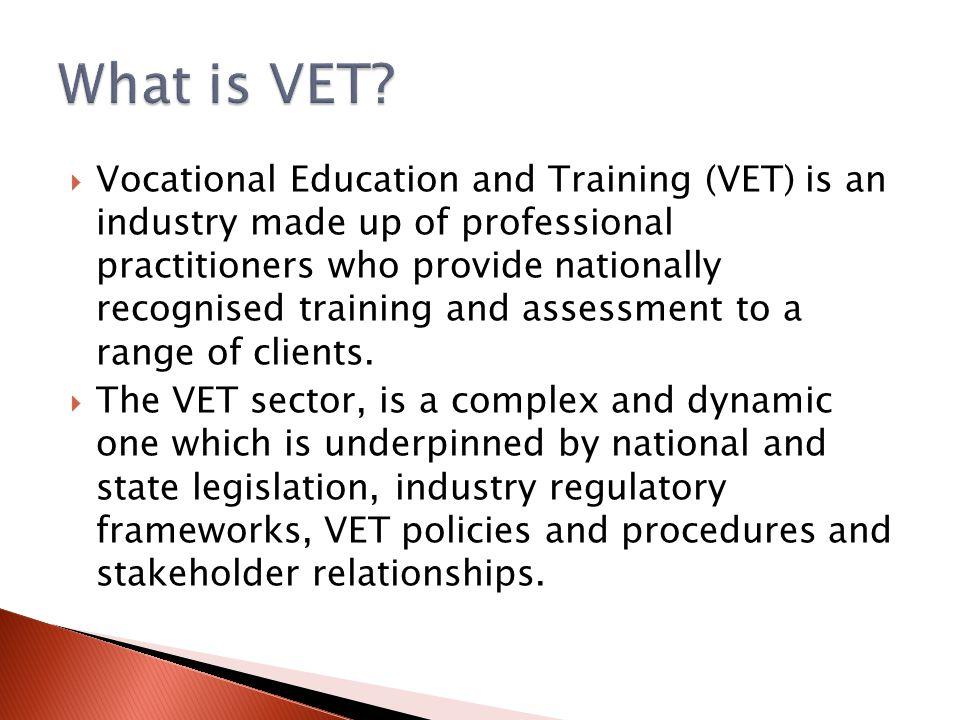  Vocational Education and Training (VET) is an industry made up of professional practitioners who provide nationally recognised training and assessme