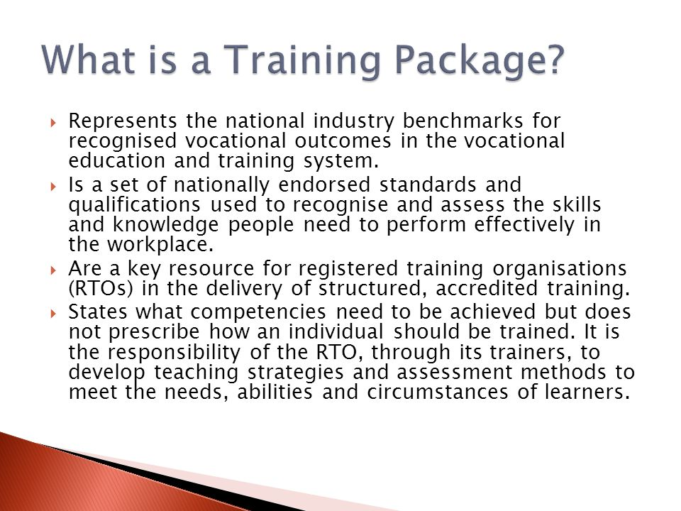  Represents the national industry benchmarks for recognised vocational outcomes in the vocational education and training system.
