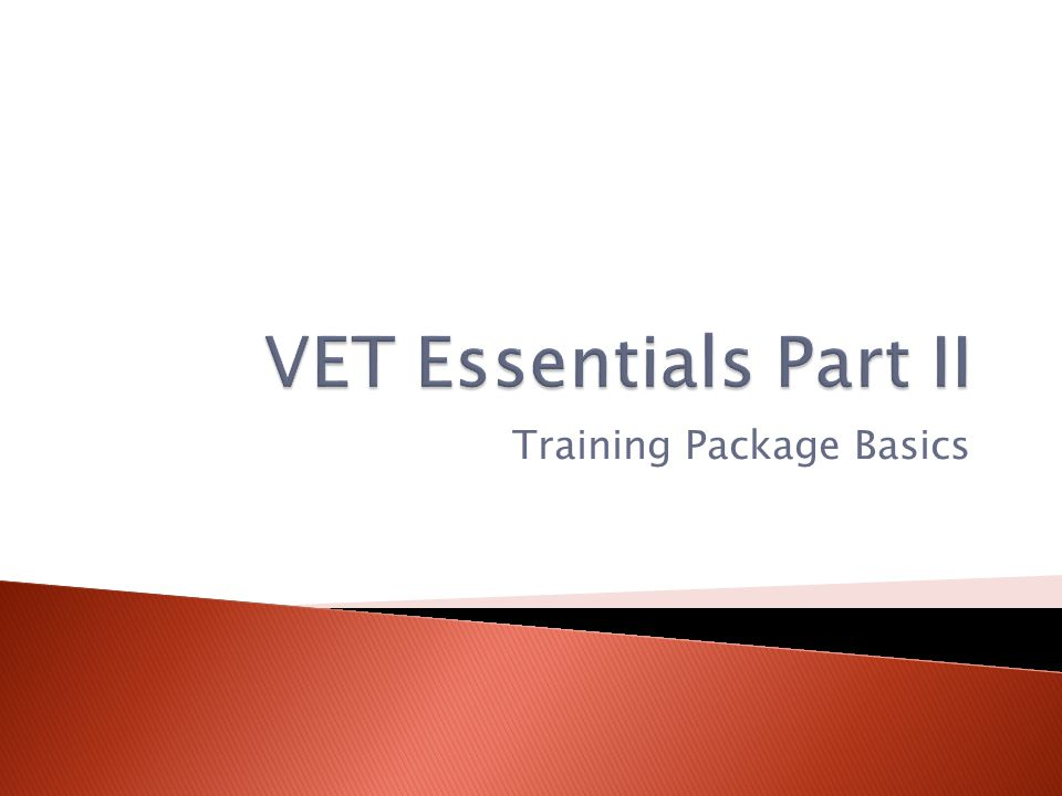 Training Package Basics
