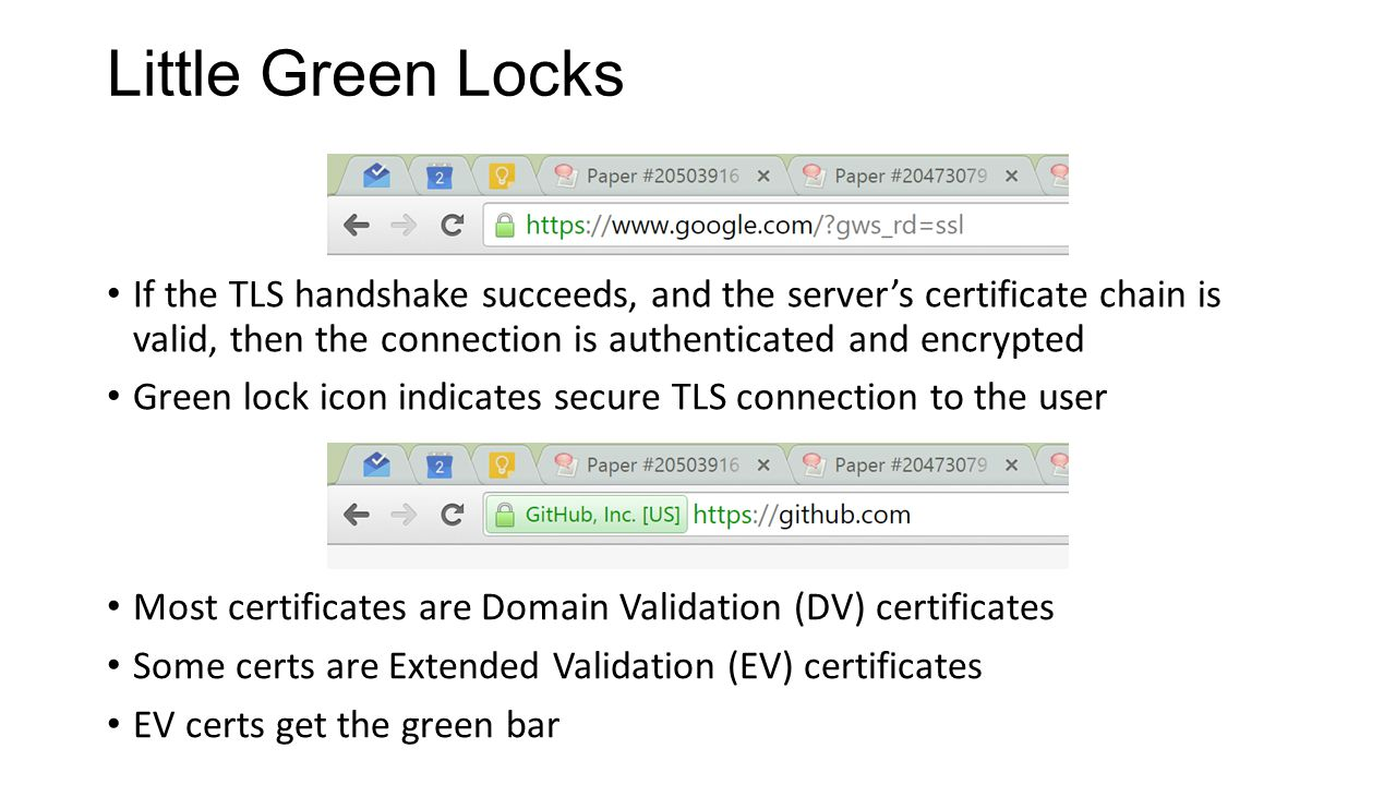 Little Green Locks If the TLS handshake succeeds, and the server's certificate chain is valid, then the connection is authenticated and encrypted Green lock icon indicates secure TLS connection to the user Most certificates are Domain Validation (DV) certificates Some certs are Extended Validation (EV) certificates EV certs get the green bar