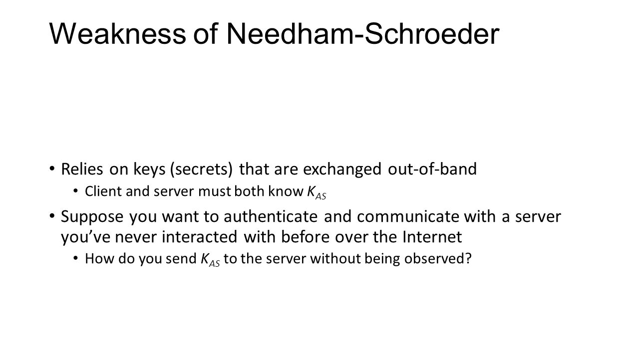 Weakness of Needham-Schroeder Relies on keys (secrets) that are exchanged out-of-band Client and server must both know K AS Suppose you want to authenticate and communicate with a server you've never interacted with before over the Internet How do you send K AS to the server without being observed