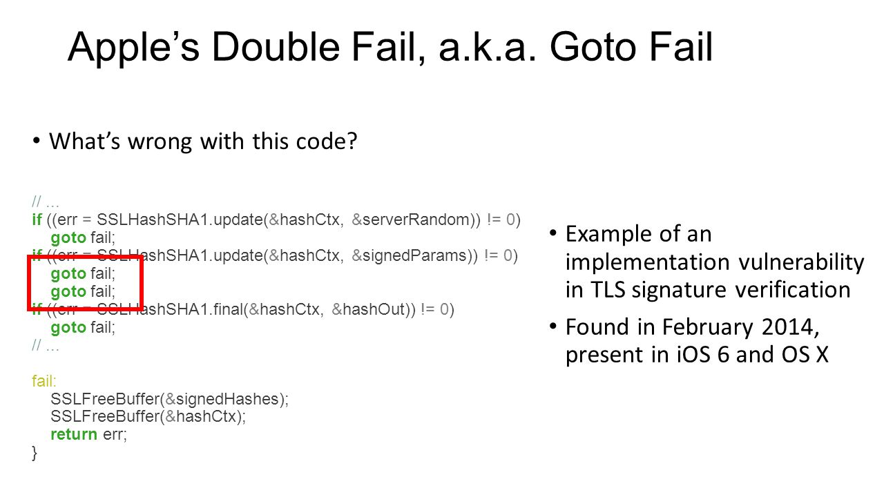 Apple's Double Fail, a.k.a. Goto Fail What's wrong with this code.