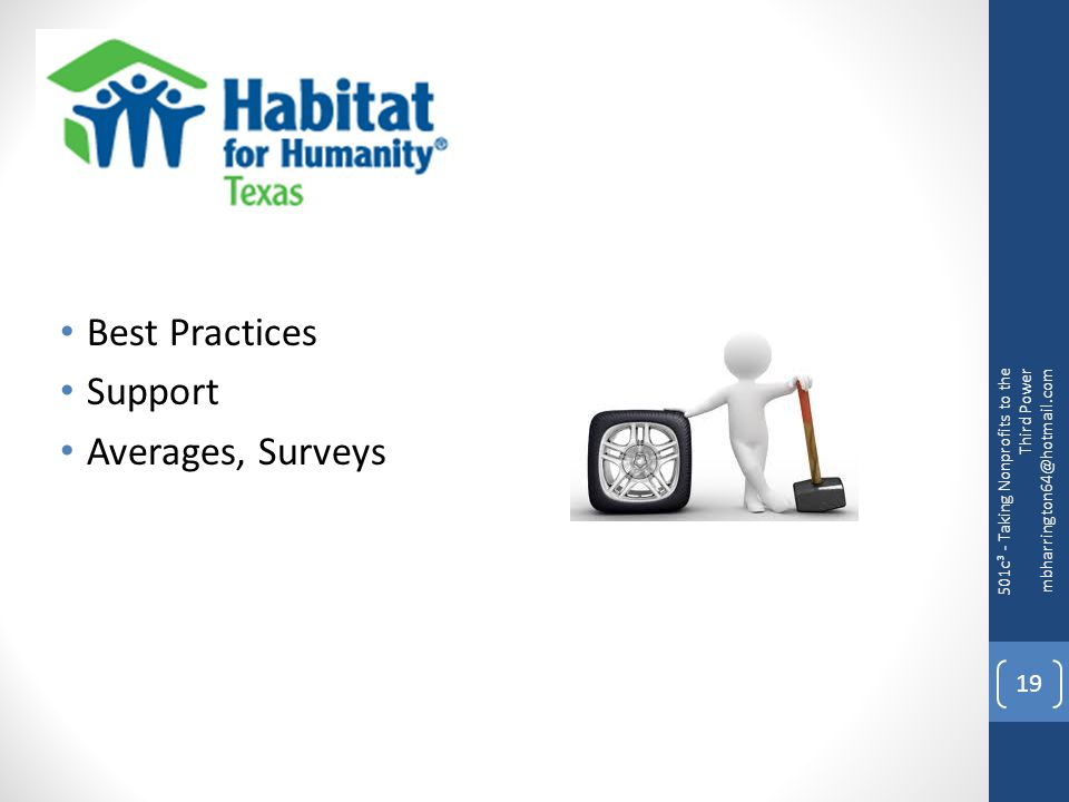 Best Practices Support Averages, Surveys 501c³ - Taking Nonprofits to the Third Power mbharrington64@hotmail.com 19