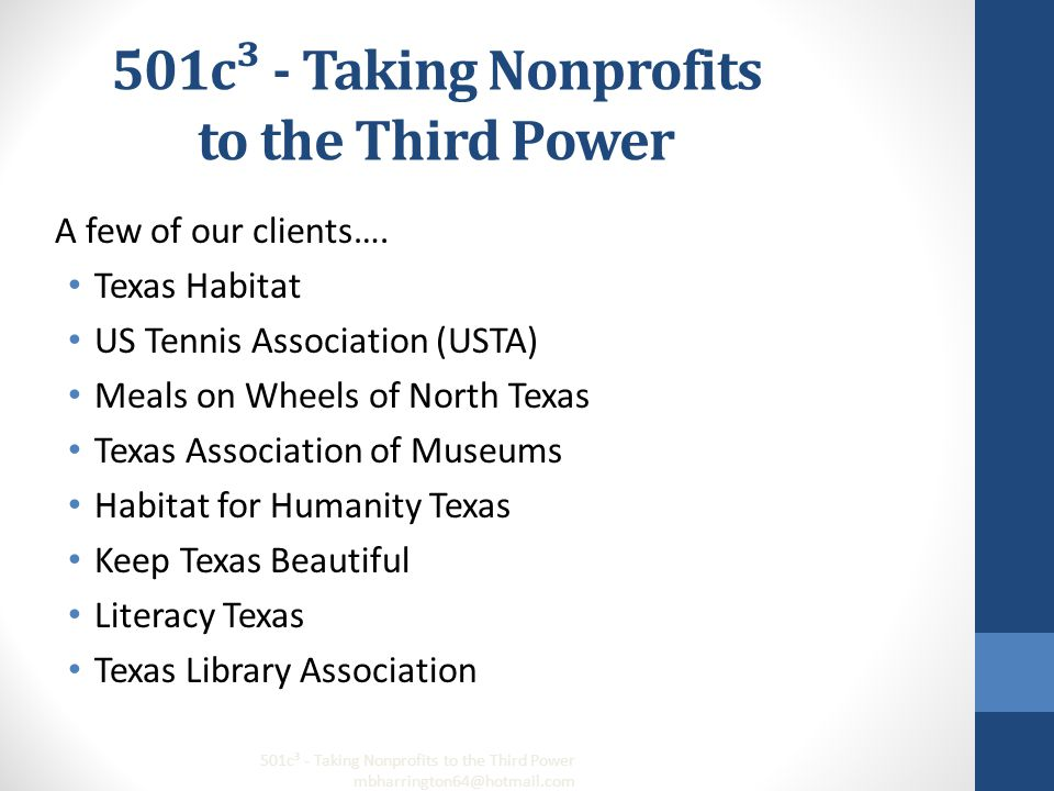 501c³ - Taking Nonprofits to the Third Power A few of our clients….