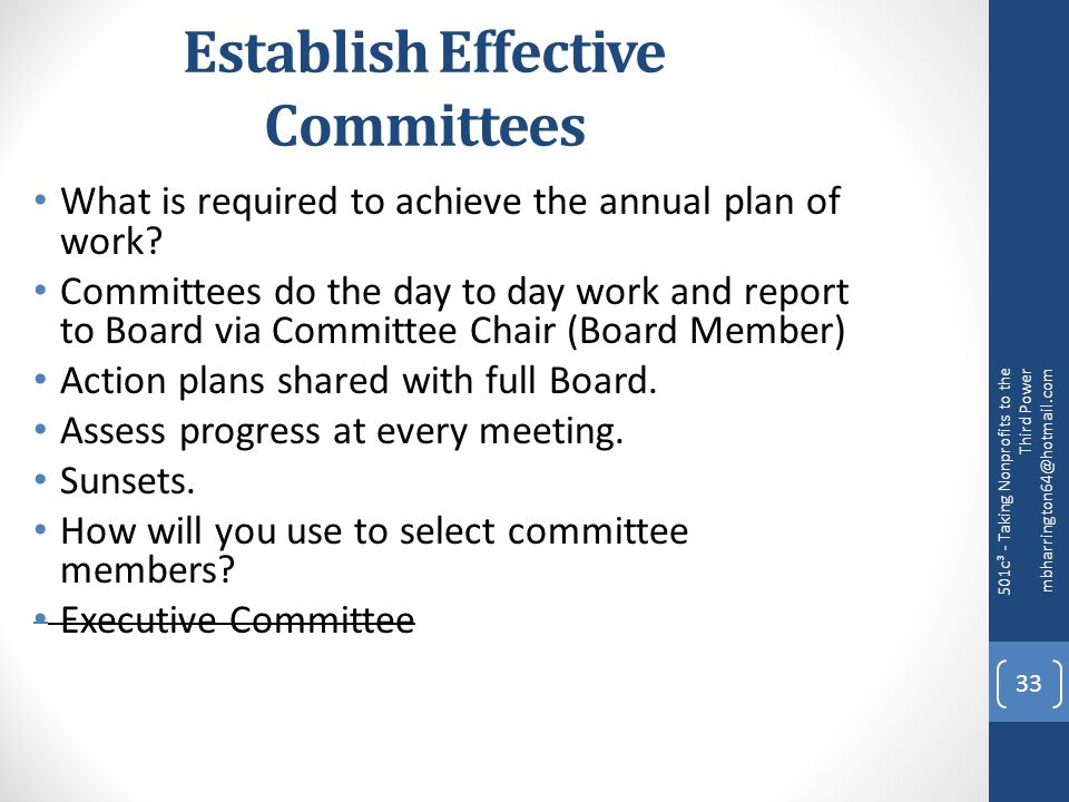 Establish Effective Committees What is required to achieve the annual plan of work.