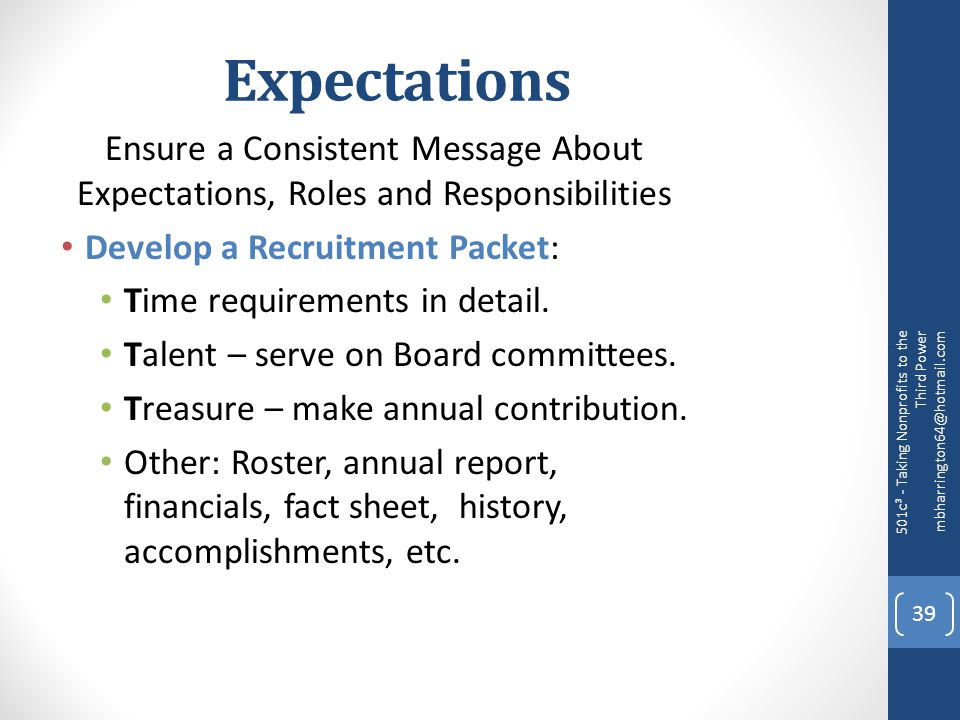 Expectations Ensure a Consistent Message About Expectations, Roles and Responsibilities Develop a Recruitment Packet: Time requirements in detail.