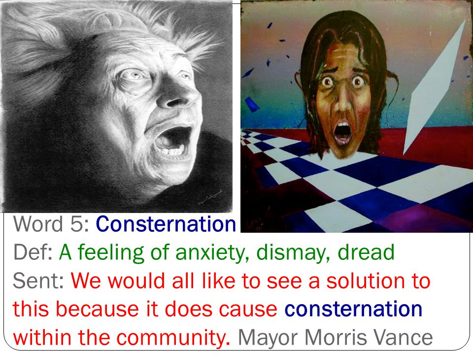 Word 5: Consternation Def: A feeling of anxiety, dismay, dread Sent: We would all like to see a solution to this because it does cause consternation within the community.
