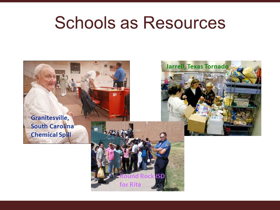 Schools as Resources Granitesville, South Carolina Chemical Spill Jarrell, Texas Tornado Round Rock ISD for Rita