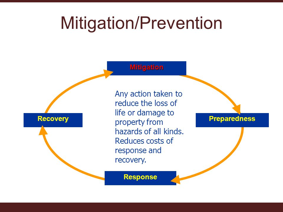 Mitigation/PreventionMitigation Preparedness Response Recovery Any action taken to reduce the loss of life or damage to property from hazards of all kinds.