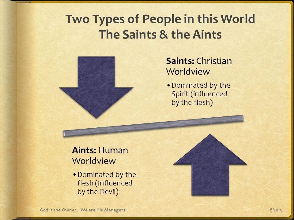 Two Types of People in this World The Saints & the Aints 8/11/13God is the Owner... We are His Managers! Saints: Christian Worldview Dominated by the