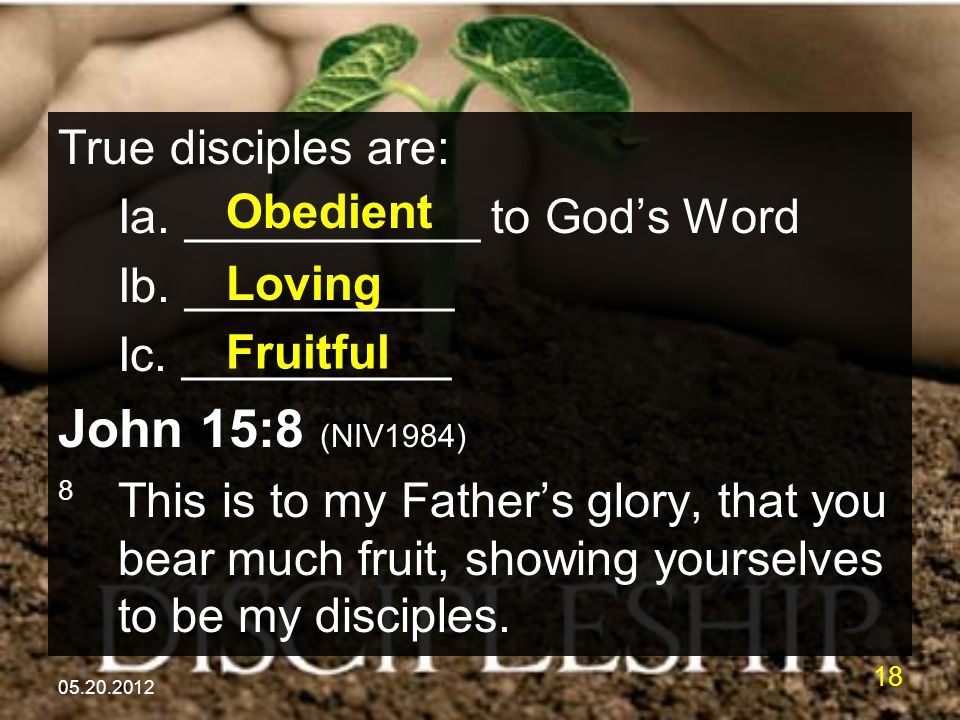 05.20.2012 18 True disciples are: Ia. ___________ to God's Word Ib.