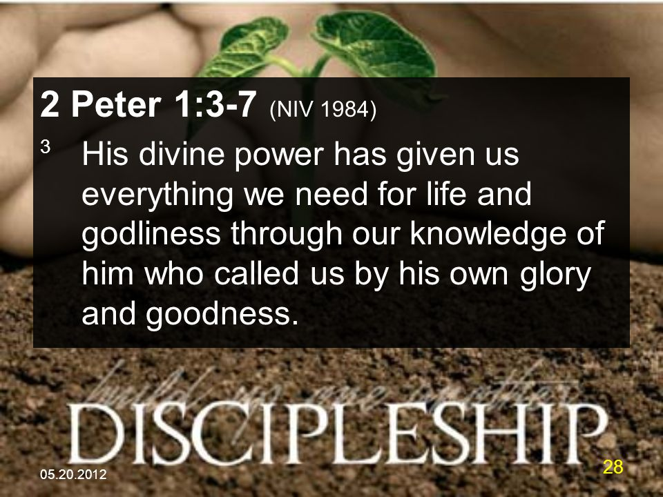 05.20.2012 28 2 Peter 1:3-7 (NIV 1984) 3 His divine power has given us everything we need for life and godliness through our knowledge of him who called us by his own glory and goodness.