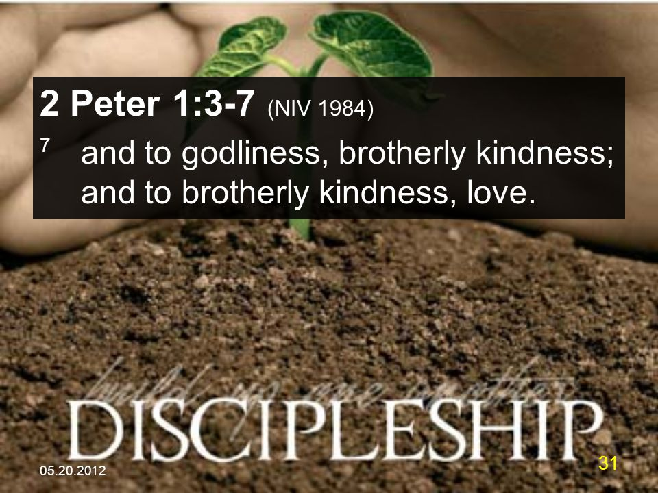 05.20.2012 31 2 Peter 1:3-7 (NIV 1984) 7 and to godliness, brotherly kindness; and to brotherly kindness, love.
