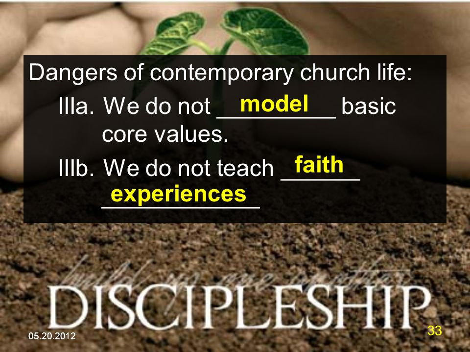 05.20.2012 33 Dangers of contemporary church life: IIIa. We do not _________ basic core values. IIIb. We do not teach ______ ____________ model faith