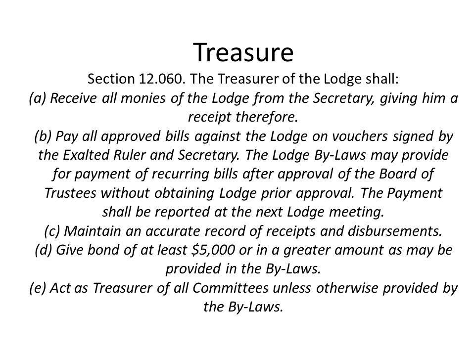 Treasure Section 12.060.