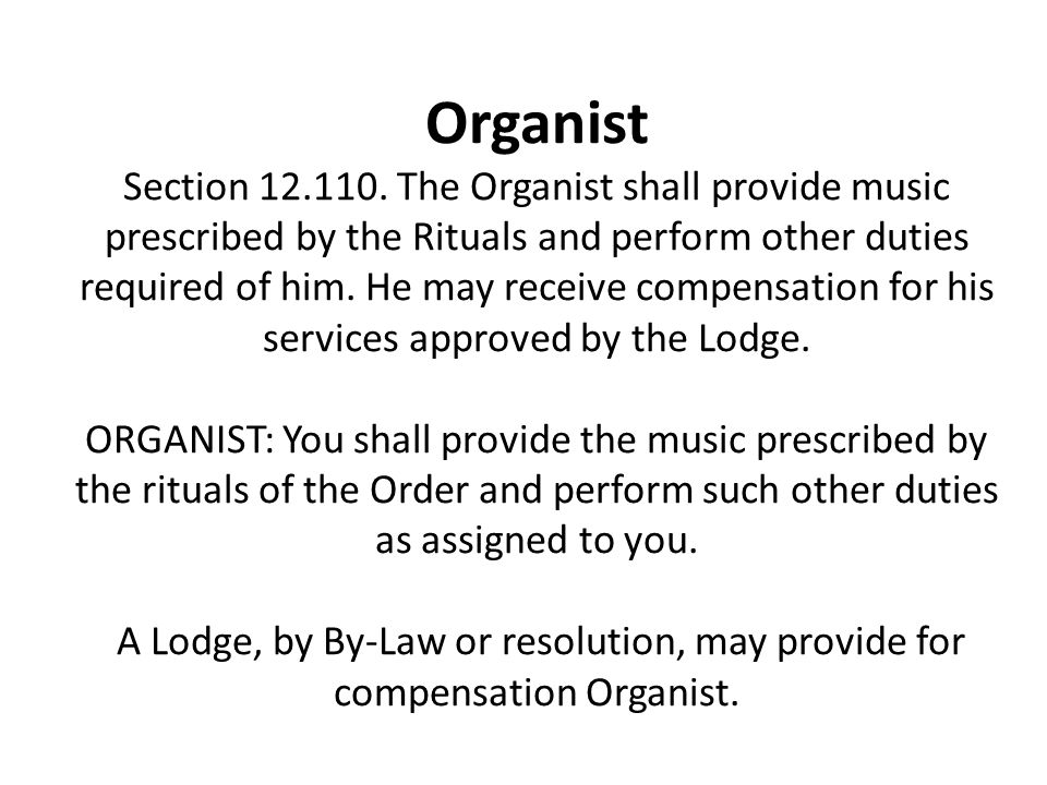 Organist Section 12.110.