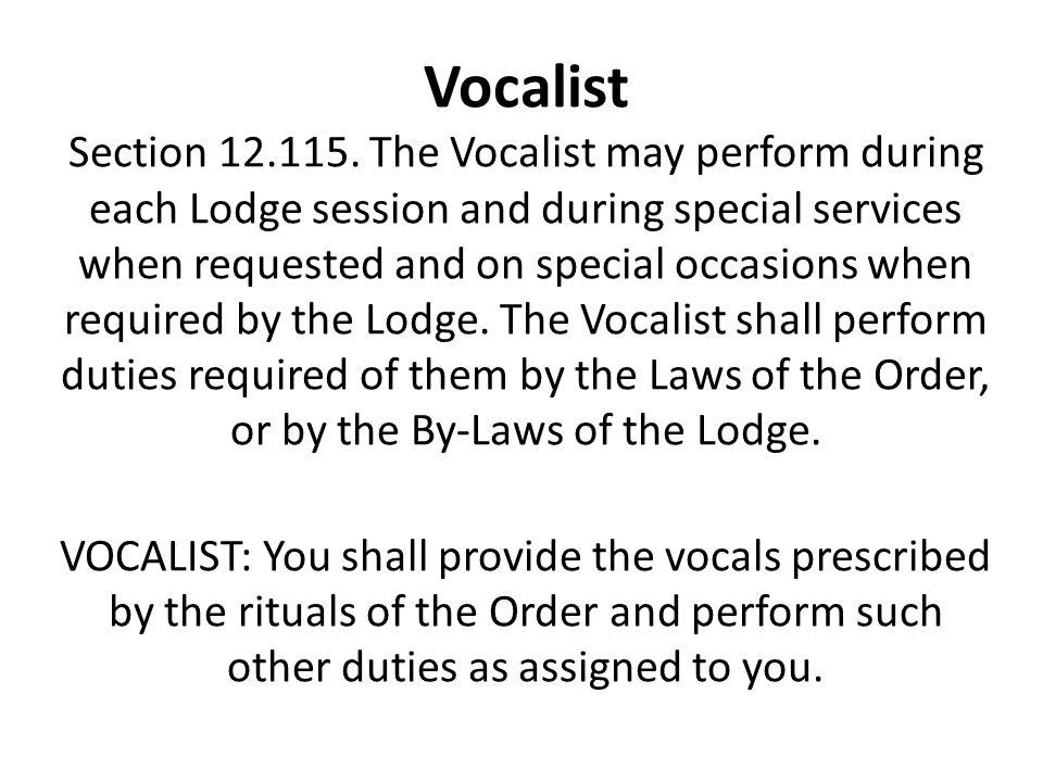 Vocalist Section 12.115.