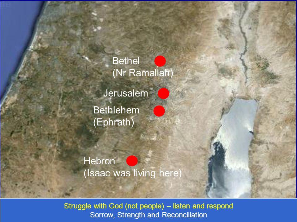 Jerusalem Bethel (Nr Ramallah) Bethlehem (Ephrath) Hebron (Isaac was living here) Struggle with God (not people) – listen and respond Sorrow, Strength