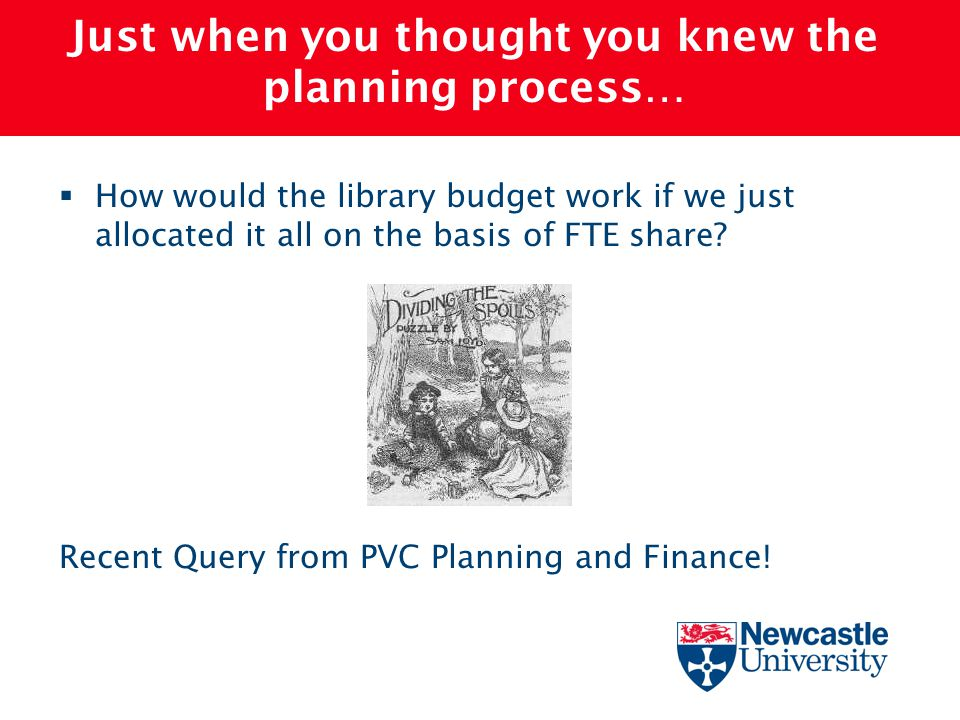 Just when you thought you knew the planning process…  How would the library budget work if we just allocated it all on the basis of FTE share? Recent