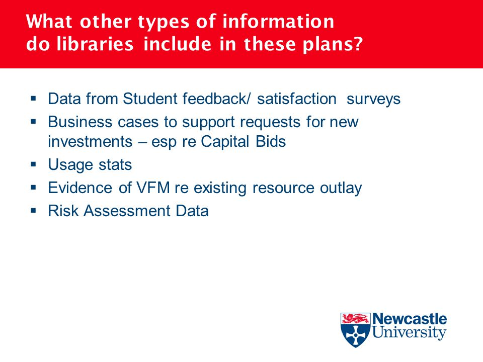What other types of information do libraries include in these plans?  Data from Student feedback/ satisfaction surveys  Business cases to support re
