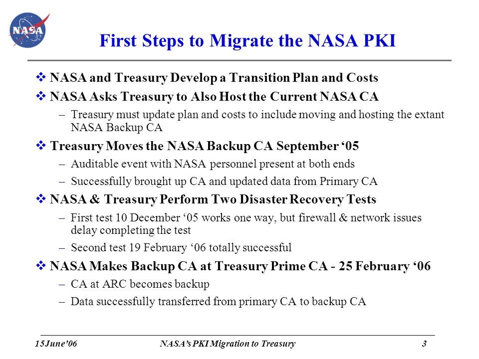15June'063 NASA's PKI Migration to Treasury First Steps to Migrate the NASA PKI  NASA and Treasury Develop a Transition Plan and Costs  NASA Asks Tr