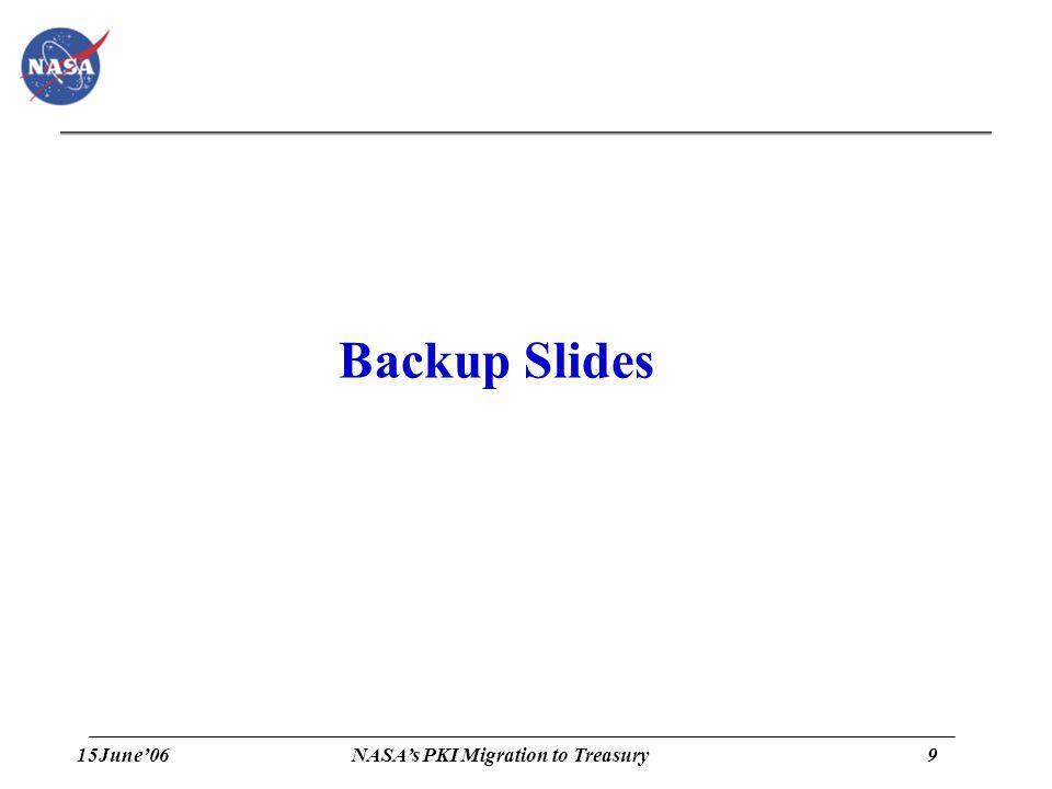 15June'069 NASA's PKI Migration to Treasury Backup Slides