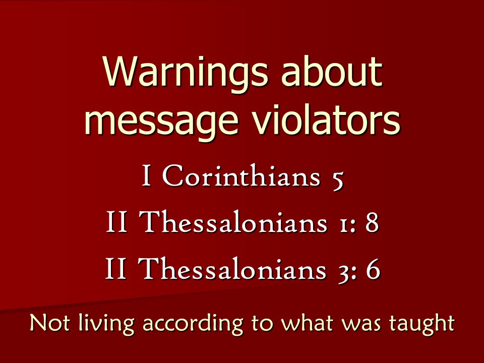 Warnings about messenger followers Matthew 23: 1-3 Do what they say, not what they do