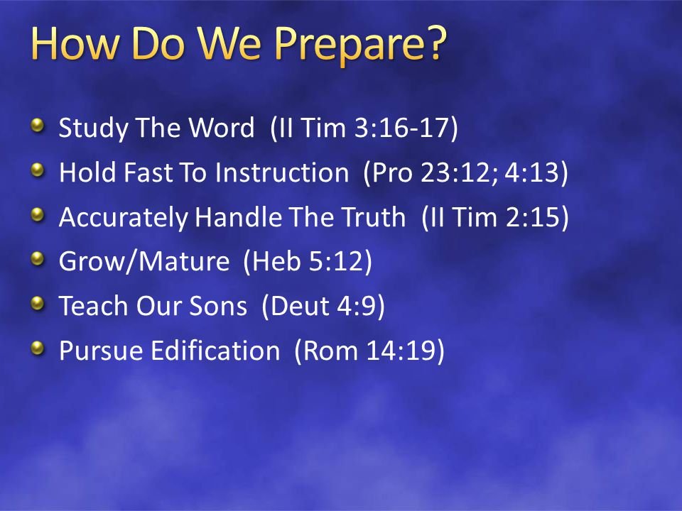 Are You Prepared To Be Holy.Are You Prepared To Edify.