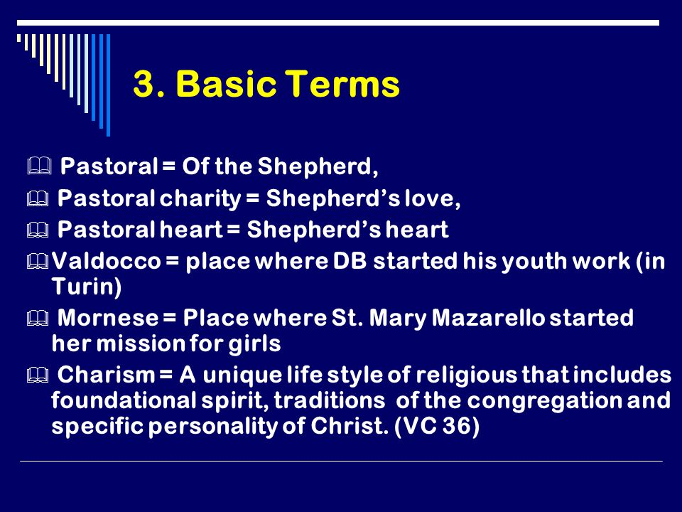 3. Basic Terms  Pastoral = Of the Shepherd,  Pastoral charity = Shepherd's love,  Pastoral heart = Shepherd's heart  Valdocco = place where DB sta