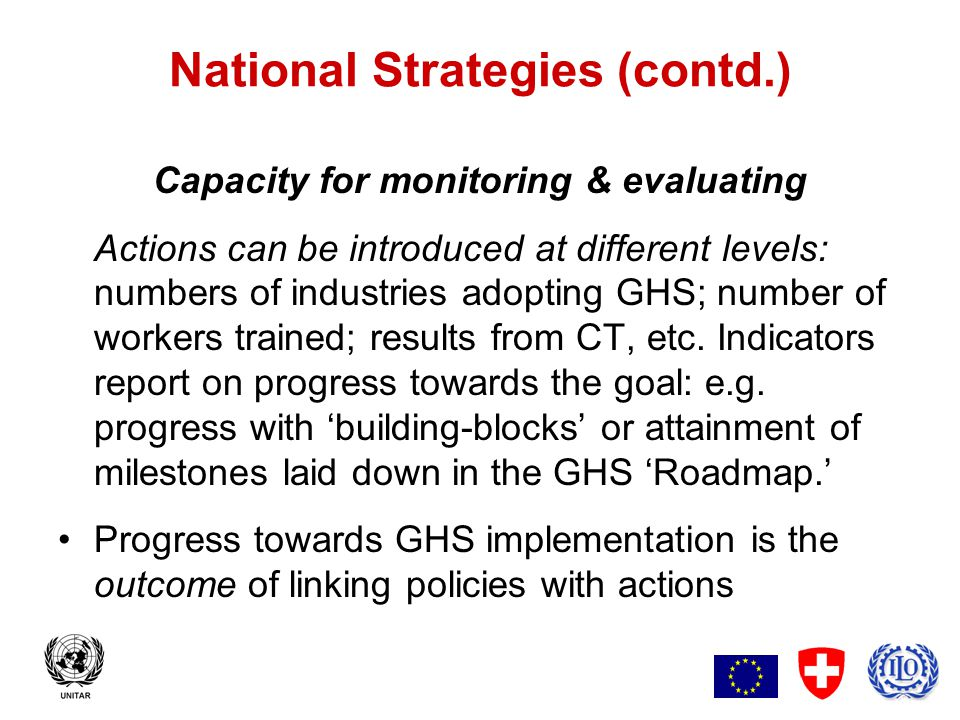 9 National Strategies (contd.) Capacity for Monitoring & Evaluating Effectiveness of implementation depends upon meeting the objectives of policies and actions as reported by the indicators.