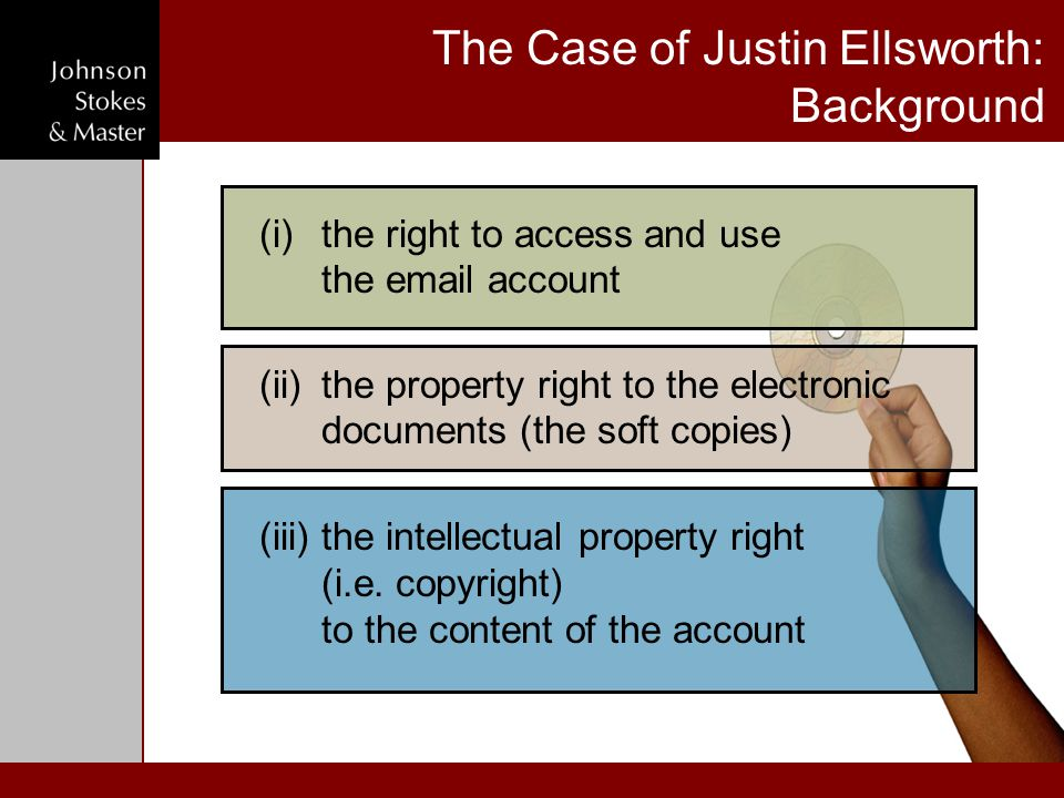 The Case of Justin Ellsworth: Background (ii)the property right to the electronic documents (the soft copies) (iii)the intellectual property right (i.