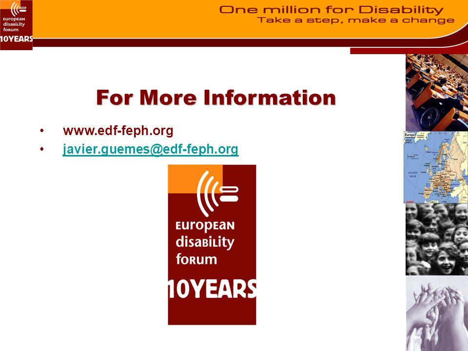 www.edf-feph.org javier.guemes@edf-feph.org For More Information