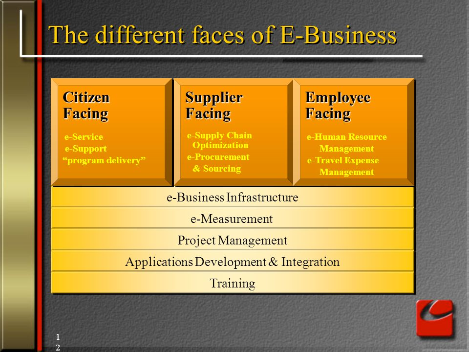 12 The different faces of E-Business e-Business Infrastructure e-Measurement Project Management Applications Development & Integration Training Customer Facing e-Sales e-Service e-Support Customer Facing e-Sales e-Service e-Support Supplier Facing e-Supply Chain Optimization e-Procurement & Sourcing Supplier Facing e-Supply Chain Optimization e-Procurement & Sourcing Employee Facing e-Human Resource Management e-Travel Expense Management Employee Facing e-Human Resource Management e-Travel Expense Management Citizen Facing e-Service e-Support program delivery Citizen Facing e-Service e-Support program delivery