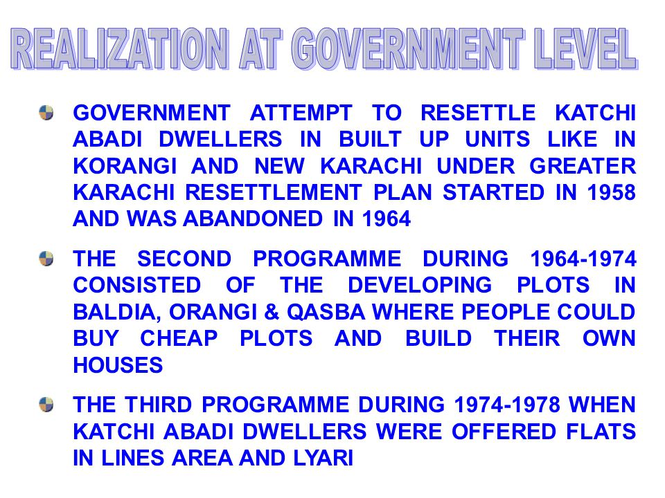 GOVERNMENT ATTEMPT TO RESETTLE KATCHI ABADI DWELLERS IN BUILT UP UNITS LIKE IN KORANGI AND NEW KARACHI UNDER GREATER KARACHI RESETTLEMENT PLAN STARTED