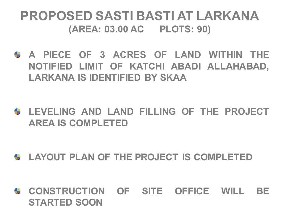 PROPOSED SASTI BASTI AT LARKANA (AREA: 03.00 AC PLOTS: 90) A PIECE OF 3 ACRES OF LAND WITHIN THE NOTIFIED LIMIT OF KATCHI ABADI ALLAHABAD, LARKANA IS